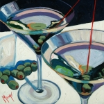 Wine Oil Posters - Martini Poster by Christopher Mize