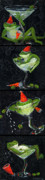 Glass Art Painting Posters - Martini Frogs Poster by Debbie McCulley