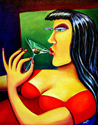 Boozing Prints - Martini Girl Print by Mary Naylor