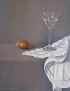 Interior Still Life Painting Metal Prints - Martini Glas with Egg II Metal Print by Pera  Schillings