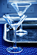 Silver Tray Framed Prints - Martini Glasses Framed Print by HD Connelly