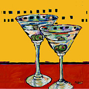 Cocktails Painting Prints - Martini on Yellow Print by Dale Moses