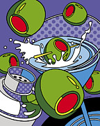 Booze Prints - Martini Time Print by Ron Magnes