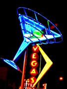 Electric Signs Posters - Martini Vegas Poster by Randall Weidner