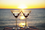 Glass Table Reflection Posters - Martinis On Table Outdoors Poster by Bill Holden