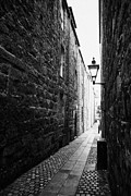 Overcast Day Posters - Martins Lane Narrow Entrance To Tenement Buildings In Old Aberdeen Scotland Uk Poster by Joe Fox
