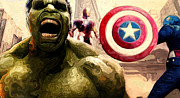 Captain America Posters - Marvel Avengers Hulk Movie Art Signed Prints available at laartwork.com Coupon Code KODAK Poster by Leon Jimenez