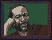 Rock Drawings Posters - Marvin Gaye  Poster by Suzanne Gee