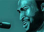 Singer Drawings - Marvin in green by Margaret Sanderson