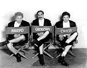 On-set Framed Prints - Marx Brothers - Harpo Marx, Groucho Framed Print by Everett