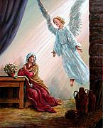 Annunciation Paintings - Mary and Angel by John Lautermilch