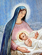 Shepherds Posters - Mary and Baby Jesus at Shepherds Fields Poster by Munir Alawi