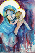 Mother Painting Originals - Mary and Baby Jesus by Mary DuCharme