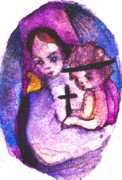 Mother Mary Digital Art - Mary and Baby Jesus by Mindy Newman