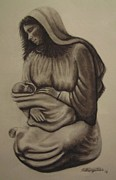 Christ Drawings - Mary and Baby Jesus by Nathan Buhler