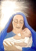 Child Jesus Paintings - Mary And Baby Jesus by Patty  Thomas