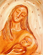 Child Jesus Paintings - Mary and Child by Louis Jakub