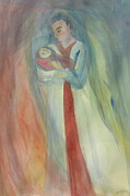 Rudolph Painting Prints - Mary and Child Veil Painting 1 Print by Nicole Besack