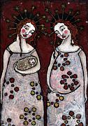 Christian Art . Devotional Art Painting Originals - Mary and Elizabeth 2 by Julie-ann Bowden