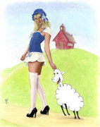 Nursery Rhyme Paintings - Mary and Her Lamb by Kevin Clark