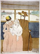 Social Life Prints - Mary Cassatt Etching, In The Omnibus Print by Everett