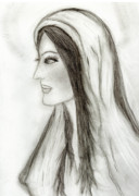 Virgin Mary Drawings Prints - Mary in Profile Print by Sonya Chalmers