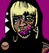 Kamonikhem Digital Art - Mary J Blige full color by Kamoni Khem