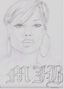 Queen Mary Drawings - Mary J. Blige by Jeff Brown