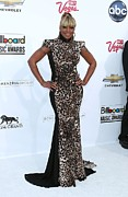 Leopard Print Prints - Mary J. Blige Wearing A Marc Bouwer Print by Everett