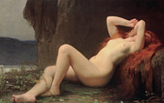 Naked Metal Prints - Mary Magdalene in the Cave Metal Print by Jules Joseph Lefebvre