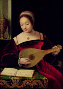 Headdress Painting Framed Prints - Mary Magdalene Playing the Lute Framed Print by Master of the Female Half Lengths