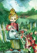 Nursery Rhyme Drawings - Mary Mary by Mindy Newman