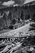 Rocky Mountains Digital Art - Mary Murphy Mine B and W by Ellen Lacey