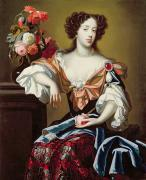 Brooch Framed Prints - Mary of Modena  Framed Print by Simon Peeterz Verelst