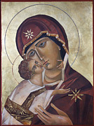 Orthodox Painting Originals - Mary of Valdamir by Mary jane Miller
