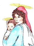 Christ Child Drawings Posters - Mary with Baby Jesus Poster by Denny Phillips