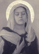 Virgin Mary Acrylic Prints - Mary, Woman Posed As Virgin Mary Acrylic Print by Everett