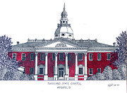Pen And Ink Drawing Art - Maryland State Capitol by Frederic Kohli