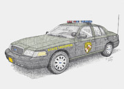 Cop Drawings Posters - Maryland State Police Car 2012 Poster by Calvert Koerber