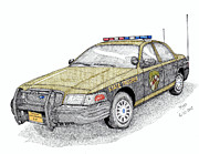 Crime Drawings Framed Prints - Maryland State Police Car style 1 Framed Print by Calvert Koerber