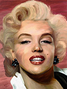 Hand-painted Portraits Paintings - Marylin Monroe by James Shepherd