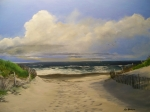 New Jersey Painting Posters - Marys Beach Poster by Ken Ahlering