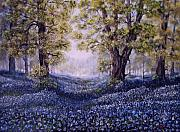 Bluebells Paintings - Marys Bluebells by Avril Brand