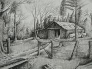 Old Barns Drawings Metal Prints - MAs Barn and truck Metal Print by Chris Shepherd