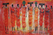 Masai Paintings - Masai Gathering fire wood by Abu Mwenye