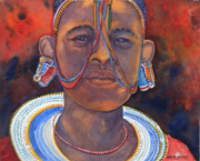 Masai Paintings - Masai girl by Chuck Creasy