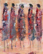 Tanzania Paintings - Masai Girls 2 by Abu Mwenye