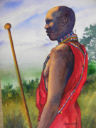 Masai Paintings - Masai tribesman by Chuck Creasy