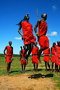 Masai Mara Prints - Masai warrior dancing traditional dance Print by Anna Omelchenko