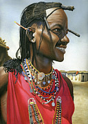 Masai Paintings - Masai Warrior by Rich Marks